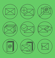 E-mail thing line icons set vector image