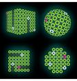 fluorescent green neon cube on deep black backdrop vector image