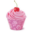cupcake with cherry realistic 3d vector image