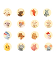 Farm Animals Heads Round Icons Collection vector image