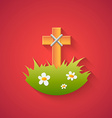 Grave Cross and Flowers Funny Halloween Carton wit vector image