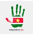 Handprint with the Flag of Suriname in grunge vector image