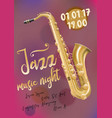 jazz music poster template with saxophone vector image