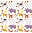 seamless background with cute animals vector image