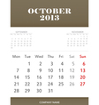 October 2013 calendar design vector image