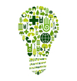 Green bulb with environmental icons vector image