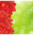 Red Flowers Border With Green Bokeh vector image vector image