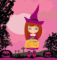 girl in witch costume holding pumpkin with candy vector image
