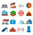 earthquake shaking icon set vector image