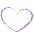 purple heart drawing love valentine vector image