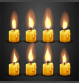 candle with fire animation on transparent vector image vector image