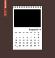 August 2014 calendar vector image vector image