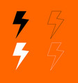 symbol electricity black and white set icon vector image