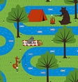 Seamless pattern camping animals vector image
