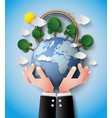 green eco earth and hand vector image