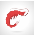 Red prawn flat icon vector image