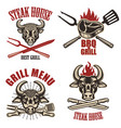set of steak house labels and design elements on vector image