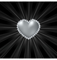 Shiny crystal love heart on black line vector image