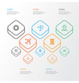 journey outline icons set collection of map pin vector image