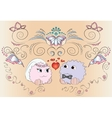 bride and groom wedding card ornaments vector image