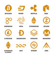 cryptocurrencies logo set vector image