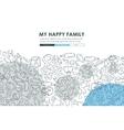 Family Doodle Website Template Design vector image