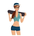 Girl skate board vector image