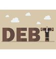 Businessman crucified on debt vector image