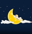 Baby sleeps on a moon vector image