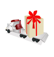 Tractor Trailer Flatbed Loading A Giant Gift Box vector image