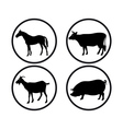 round buttons with silhouettes of animals vector image vector image