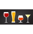 Set of Black Alcoholic Glass Silhouette vector image vector image