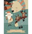 Cute polar bear hugging Santa Claus and reindeers vector image vector image