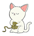 comic cartoon cat playing with ball of yarn vector image