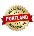Portland 3d gold badge with red ribbon vector image