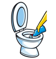 cleaning toilet bowl using plastic bottle vector image