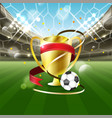 football stadium with a ball and gold cup with vector image