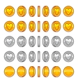 Heart coins rotation animation sprites vector image