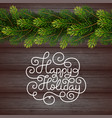 holiday gift card with hand lettering happy vector image