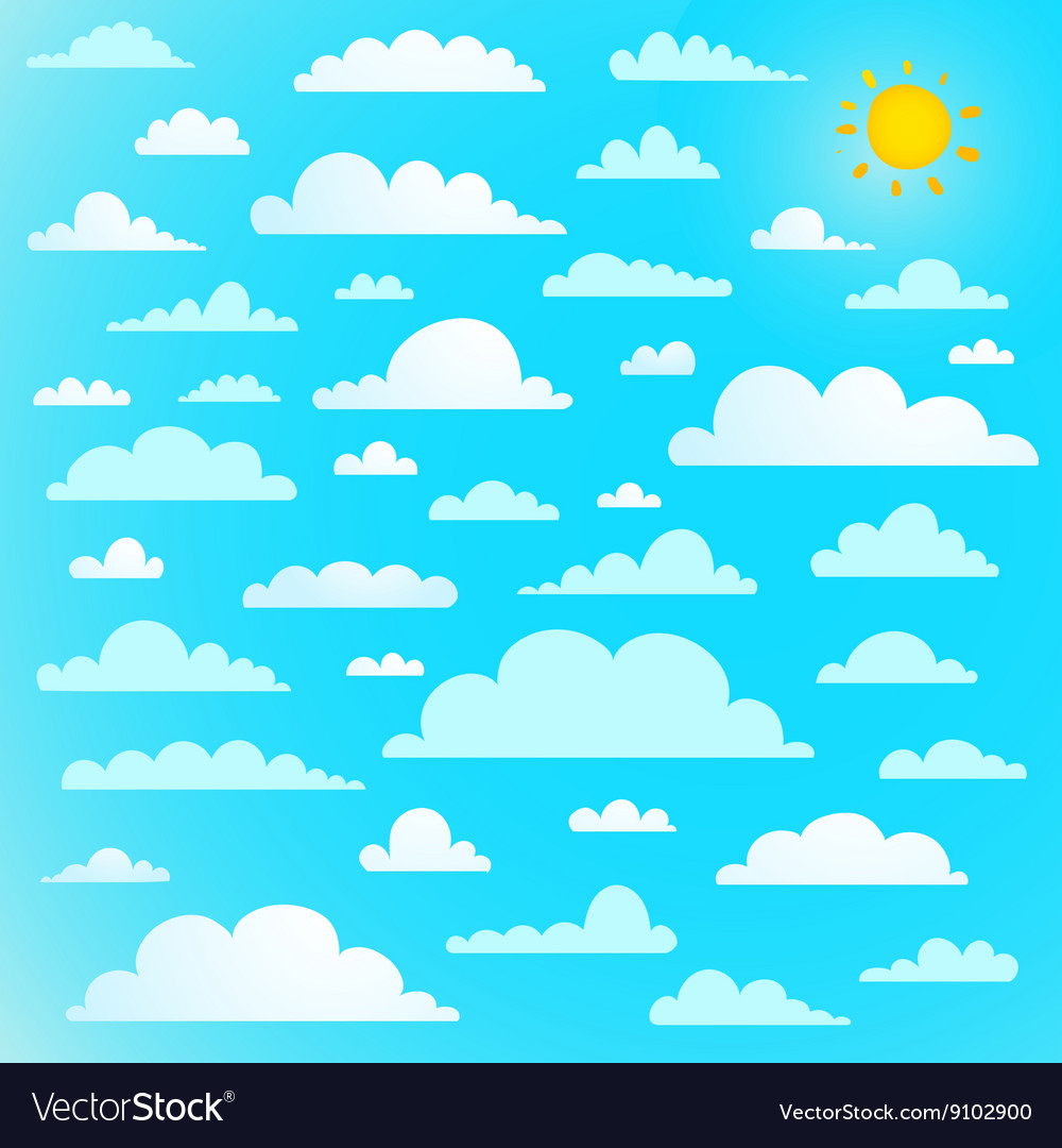 Clouds collection on blue sky with sun vector