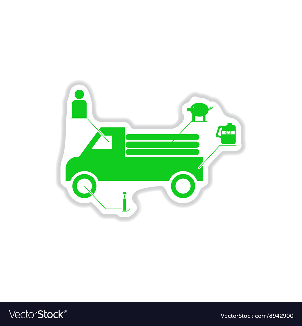 Paper sticker on white background car infographics vector
