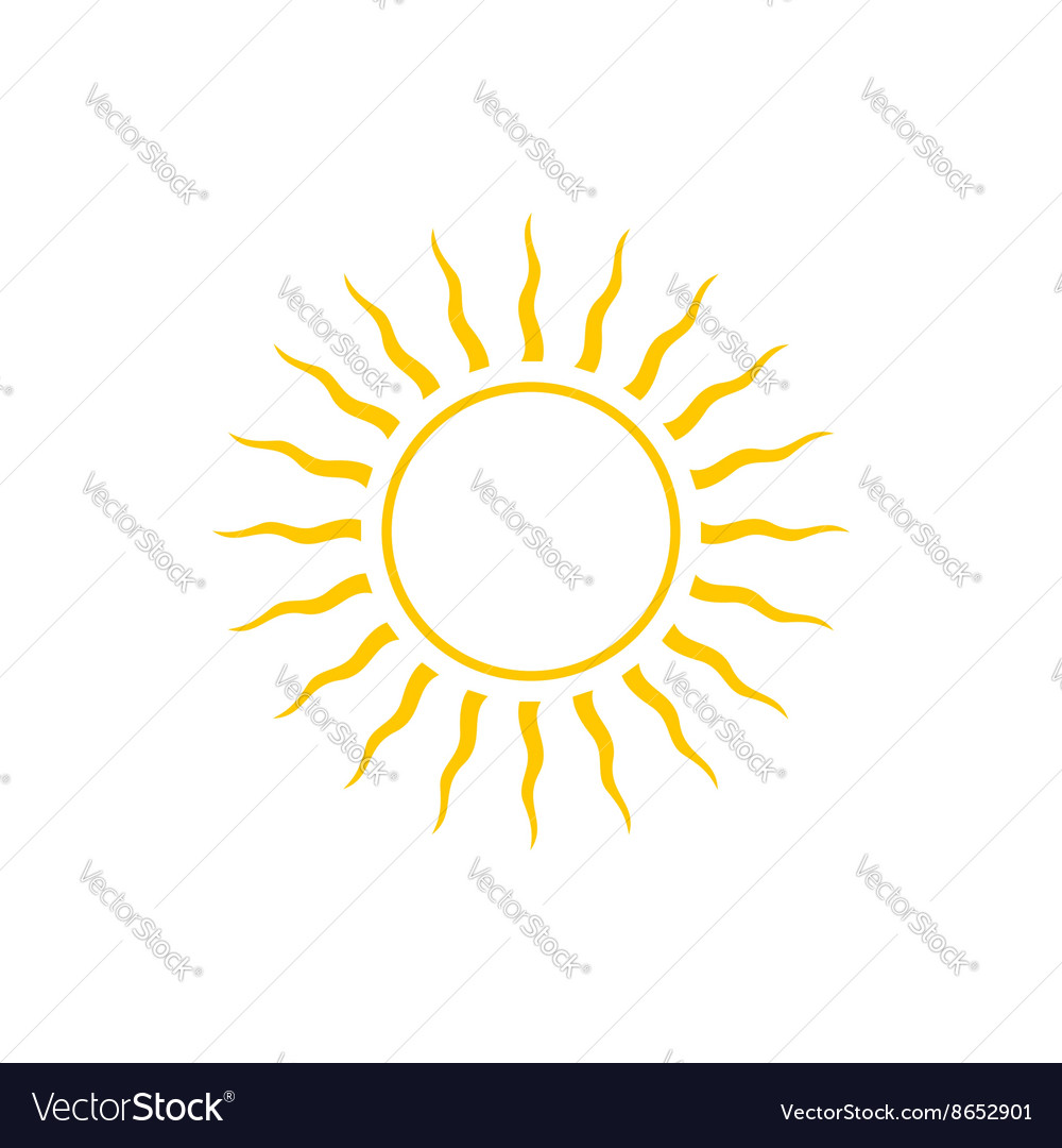 Abstract yellow sun icon line style design vector