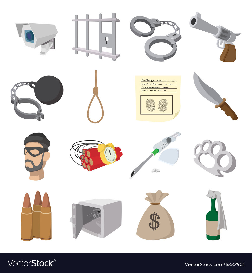 Crime cartoon icons vector