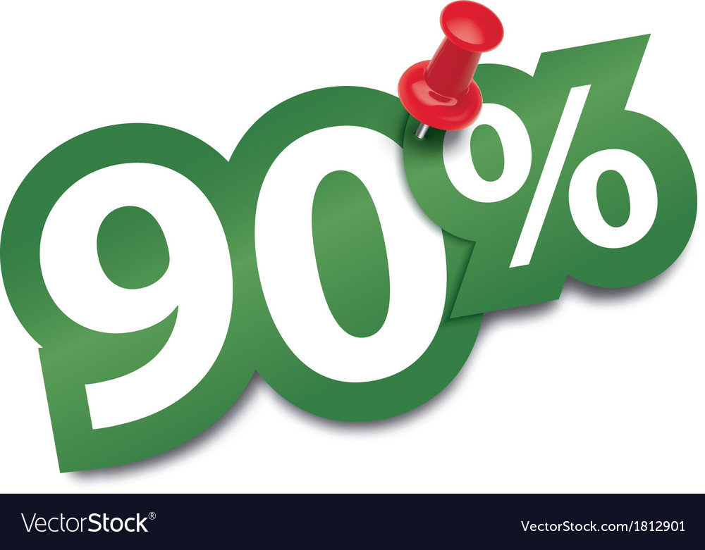 Ninety percent sticker vector