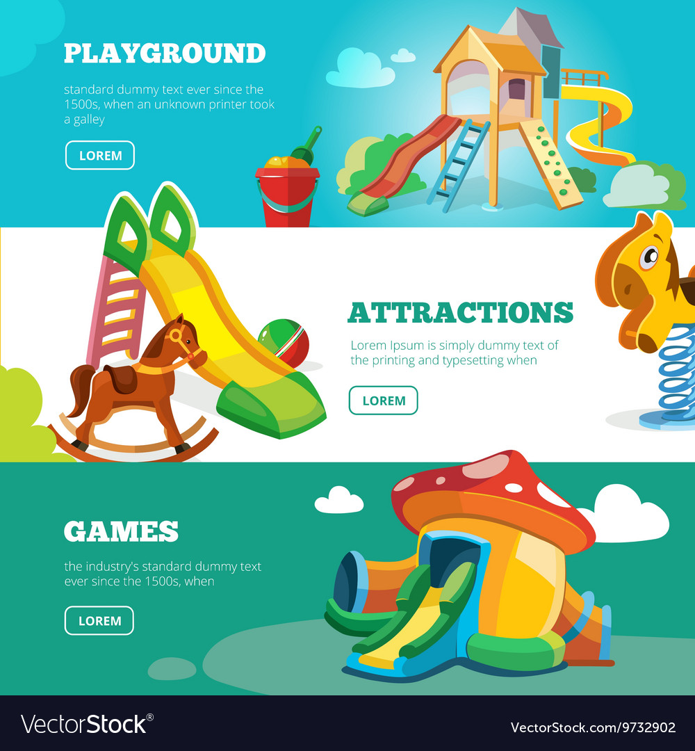 Banners set of children playground vector