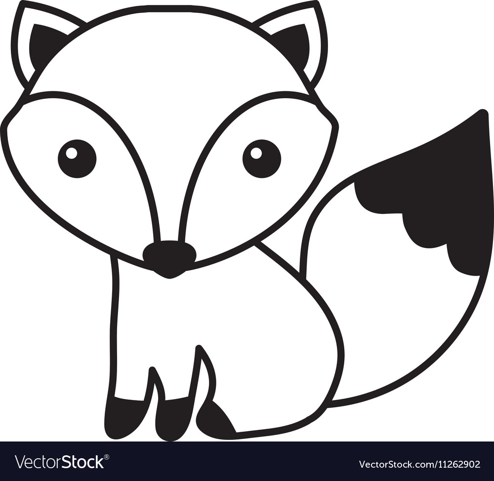 Cute fox isolated icon vector
