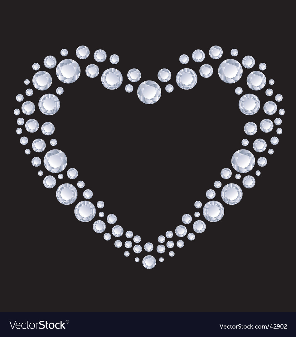 Diamonds heart vector