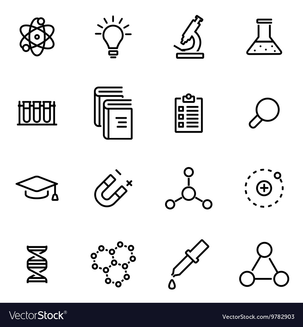 Thin line icons  science vector