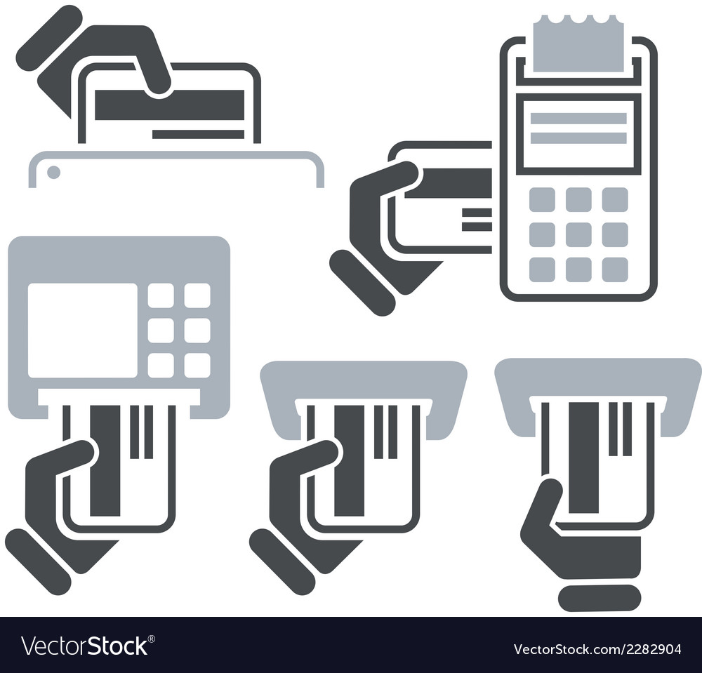 Atm posterminal and hand credit card icons vector