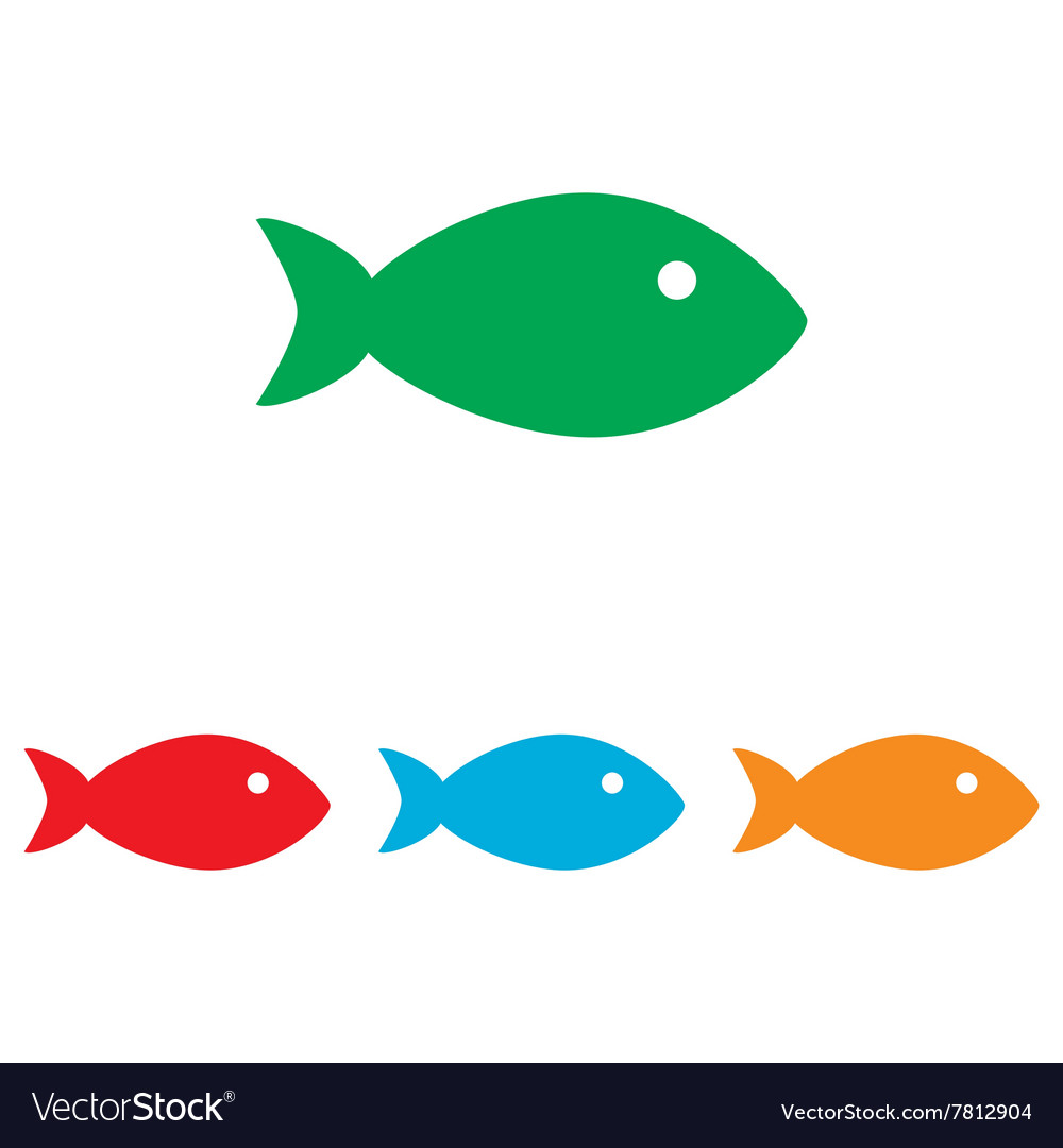 Fish sign colorfull set vector